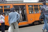 - Milan, streetcar stop....- Milano, fermata del tram