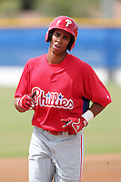 Philadelphia Phillies outfielder Aaron Altherr #22 during an Instructional League game against the Toronto Blue Jays at Englebert Complex on October 12, 2011 in Dunedin, Florida.  (Mike Janes/Four Seam Images)