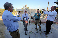 Pictured: Jon Cousins of South Yorkshire Police (2nd L) briefs the media at the start of the day 10 of the search in Kos, Greece. Wednesday 05 October 2016<br />