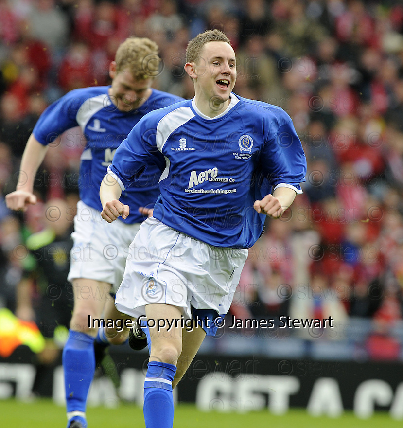12/04/2008    Copyright Pic: James Stewart.File Name : sct_jspa08_qots_v_aberdeen.PAUL BURNS CELEBRATES AFTER HE SCORES QUEEN OF THE SOUTH'S SECOND....James Stewart Photo Agency 19 Carronlea Drive, Falkirk. FK2 8DN      Vat Reg No. 607 6932 25.Studio      : +44 (0)1324 611191 .Mobile      : +44 (0)7721 416997.E-mail  :  jim@jspa.co.uk.If you require further information then contact Jim Stewart on any of the numbers above........