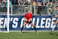 Cary, North Carolina - Sunday December 6, 2015: Britt Eckerstrom (28) of the Penn State Nittany Lions defends her goal during second half action against the Duke Blue Devils at the 2015 NCAA Women's College Cup at WakeMed Soccer Park.  The Nittany Lions defeated the Blue Devils 1-0.