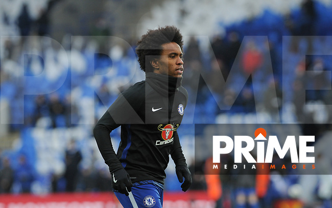 Willian of Chelsea pre match during the FA Cup QF match between Leicester City and Chelsea at the King Power Stadium, Leicester, England on 18 March 2018. Photo by Stephen Buckley / PRiME Media Images.