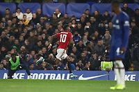 30th October 2019; Stamford Bridge, London, England; English Football League Cup, Carabao Cup, Chelsea Football Club versus Manchester United; Marcus Rashford of Manchester Utd celebrates as he scores for 1-2 in the 73rd minute - Strictly Editorial Use Only. No use with unauthorized audio, video, data, fixture lists, club/league logos or 'live' services. Online in-match use limited to 120 images, no video emulation. No use in betting, games or single club/league/player publications