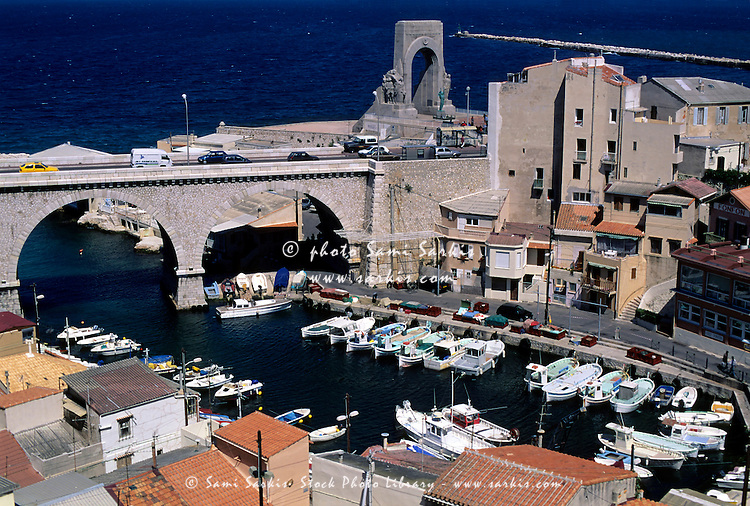 Bridge crossing over the port at Vallon des Auffes, Marseille, France.