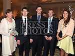 Noelle Douglas from Douglas Nurseries with Oisin Byrne, Micheal Byrne, Brendan Lemon and Josephine Byrne who won the Hillary Award at the Baile Atha Fherdia Traders Awards in the Nuremore hotel Carrickmacross. Photo:Colin Bell/pressphotos.ie