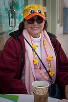 Sylvia Ketterman, Naples, takes a break at a sidewalk cafe before the race. Photo by Debi Pittman Wilkey
