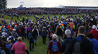 The scene at the last as the last match is walked in during Sunday's Singles at the 2014 Ryder Cup from Gleneagles, Perthshire, Scotland. Picture:  David Lloyd / www.golffile.ie