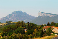 The Pic St Loup mountain top peak. The Montagne Massif d'Hortus mountain cliff. Pic St Loup. Languedoc. France. Europe.