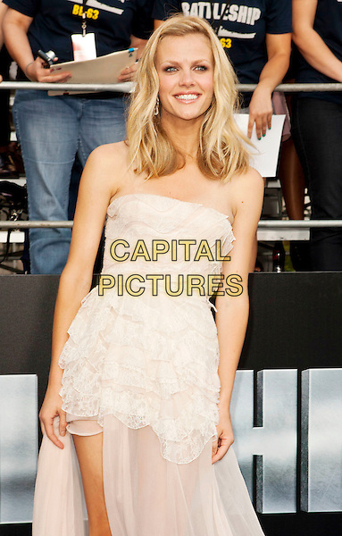 Brooklyn Decker.Premiere of 'Battleship' held at Nokia Theatre L.A. Live in Los Angeles, California, USA..May 10th, 2012.half length white lace strapless dress   .CAP/ROT/TM.©Tony Michaels/Roth Stock/Capital Pictures