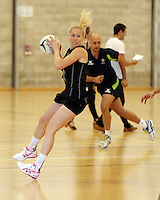 14.10.2014 Silver Ferns Laura Langman in action at the Silver Ferns Training ahead of their netball test match in Auckland tomorrow night. Mandatory Photo Credit ©Michael Bradley.