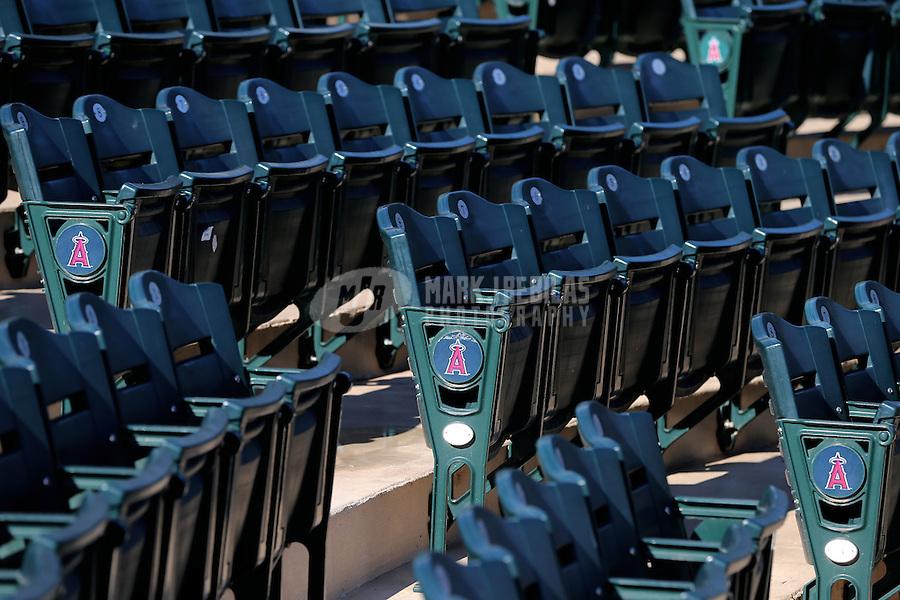 Feb. 12, 2013; Tempe, AZ, USA: Detailed view of empty Los Angeles Angels grandstand seats during spring training at Tempe Diablo Stadium. Mandatory Credit: Mark J. Rebilas-USA TODAY Sports