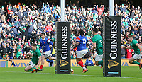 Sunday10th March 2019 | Ireland vs France<br /> <br /> Jonathan Sexton scores during the Guinness 6 Nations clash between Ireland and France at the Aviva Stadium, Lansdowne Road, Dublin, Ireland. Photo by John Dickson / DICKSONDIGITAL