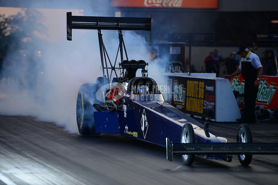 Jun. 30, 2012; Joliet, IL, USA: NHRA top fuel dragster driver Tim Cullinan during qualifying for the Route 66 Nationals at Route 66 Raceway. Mandatory Credit: Mark J. Rebilas-