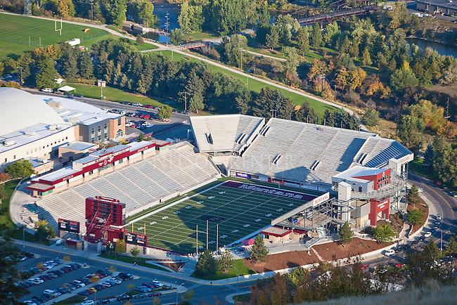 The Washington Grizzly football stadium in Missoula, Montana on the University of Montana campus