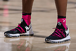 The Wake Forest Demon Deacons wore pink socks and shoelaces in support of breast cancer awareness during the game against the Georgia Tech Yellow Jackets at the LJVM Coliseum on February 14, 2018 in Winston-Salem, North Carolina.  The Demon Deacons defeated the Yellow Jackets 79-62.  (Brian Westerholt/Sports On Film)