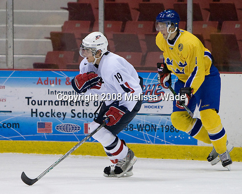 Corey Tropp (US White - 19), Victor Hedman (Sweden 4) - Team Sweden defeated Team USA White 7-3 on Friday, August 8, 2008, in the 1980 Rink during the 2008 US National Junior Evaluation Camp and Summer Hockey Challenge in Lake Placid, New York.