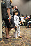 USA, Oahu, Hawaii, portrait of a young boy Jujitsu Martial Arts fighter before the start of the ICON grappling tournament in Honolulu