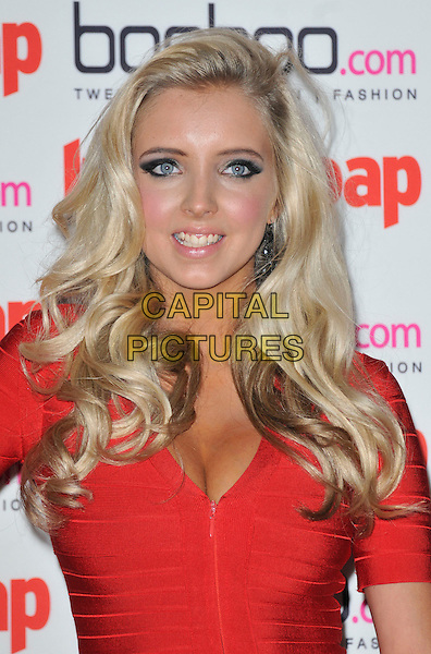 Alice Barlow.The Inside Soap Awards 2012, One Marylebone, London, England..September 24th, 2012.headshot portrait red cleavage .CAP/WIZ.© Wizard/Capital Pictures.