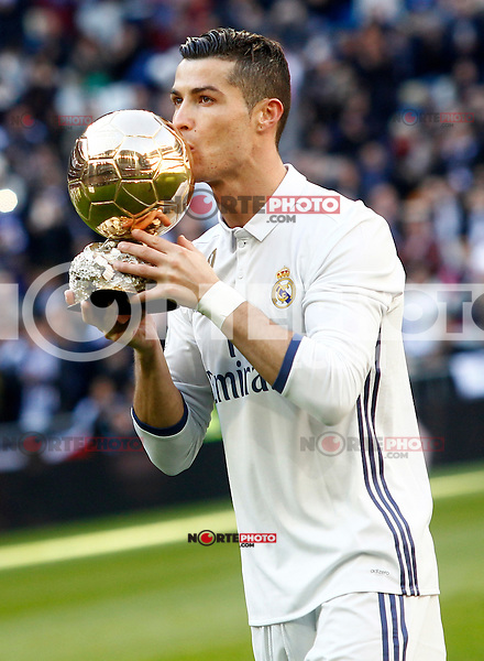 Real Madrid's Cristiano Ronaldo golden ball 2016 during La Liga match. January 7,2016. (ALTERPHOTOS/Acero) ///NORTEPHOTO.COM