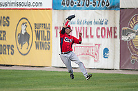 Orem Owlz right fielder Rayneldy Rosario (12) catches a fly ball during a Pioneer League game against the Missoula Osprey at Ogren Park Allegiance Field on August 19, 2018 in Missoula, Montana. The Missoula Osprey defeated the Orem Owlz by a score of 8-0. (Zachary Lucy/Four Seam Images)