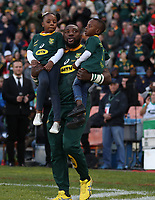 Tendai Mtawarira of South Africa on his 100th cap with his Children,Talumba Mtawarira, Wangu Mtawarira during the 2018 Castle Lager Incoming Series 2nd Test match between South Africa and England at the Toyota Stadium.Bloemfontein,South Africa. 16,06,2018. Photo by Steve Haag / stevehaagsports.com