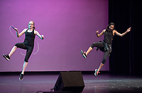 Jessica Fay '17 and Tessa Wardle '17 combined their jump-roping and dance skills into a fun routine.<br /> Occidental College students perform and compete during Apollo Night, one of Oxy's biggest talent showcases, on Feb. 24, 2017 in Thorne Hall. Sponsored by ASOC and hosted by the Black Student Alliance as part of Black History Month.<br /> (Photo by Marc Campos, Occidental College Photographer)
