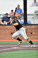 Bristol Pirates catcher Jason Delay (14) swings at a pitch during a game against the Johnson City Cardinals at TVA Credit Union Ballpark on June 23, 2017 in Johnson City, Tennessee. The Pirates defeated the Cardinals 4-3. (Tony Farlow/Four Seam Images)