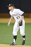 Wake Forest Demon Deacons second baseman Jimmy Redovian (23) on defense against the Maryland Terrapins at Wake Forest Baseball Park on April 4, 2014 in Winston-Salem, North Carolina.  The Demon Deacons defeated the Terrapins 6-4.  (Brian Westerholt/Four Seam Images)