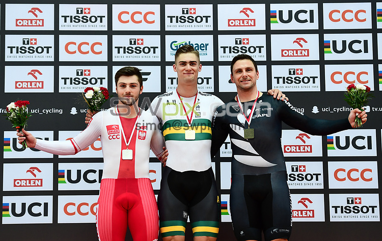 Picture by Alex Broadway/SWpix.com - 05/11/2017 - Cycling - Tissot UCI Track Cycling World Cup - BGZ Arena, Pruszkow, Poland - Damian Zielinski of Poland, Matthew Glaetzer of Australia and Edward Dawkins of New Zealand on the podium after the Men's Sprint Final.