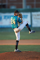 Mooresville Spinners relief pitcher Noah Eaker (24) (Catawba Valley CC) in action against the Dry Pond Blue Sox at Moor Park on July 2, 2020 in Mooresville, NC.  The Spinners defeated the Blue Sox 9-4. (Brian Westerholt/Four Seam Images)