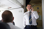 FC Luzern v St Johnstone...16.07.14  Europa League 2nd Round Qualifier<br /> Chairman Steve Brown speaks to the fans on board the official team plane heading for Basel in Switzerland ahead of tomorrow's game against FC Luzern<br /> Picture by Graeme Hart.<br /> Copyright Perthshire Picture Agency<br /> Tel: 01738 623350  Mobile: 07990 594431