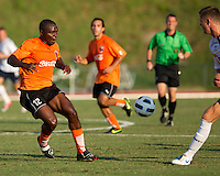 Desmond Tachie of the Charlotte Eagles prepares to defend.  The Charlotte Eagles currently in 3rd place in the USL second division play a friendly against the Bolton Wanderers from the English Premier League.