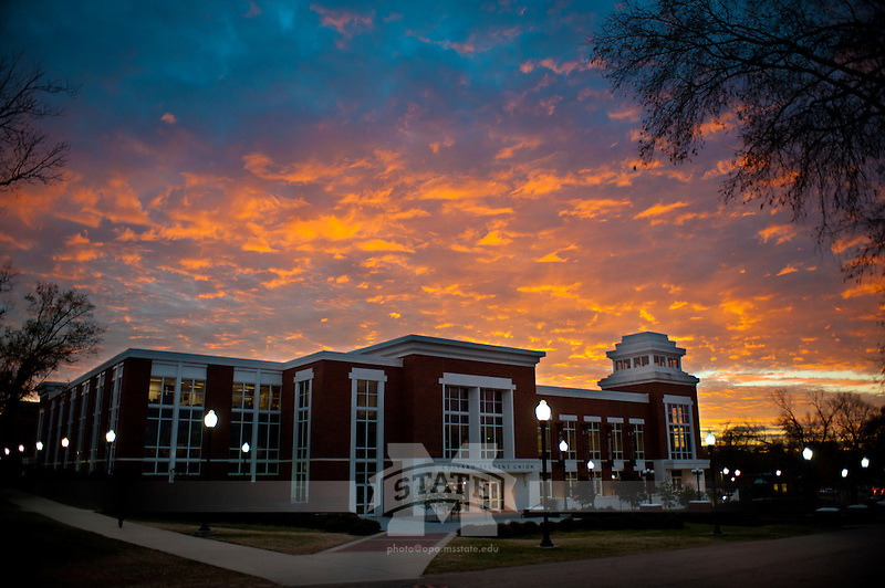 Sunset clouds over Colvard Union (photo by Megan Bean / © Mississippi State University)
