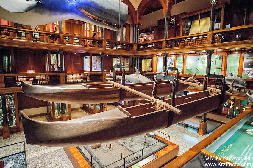 Double hulled Hawaiian fishing canoe, Bishop Museum, Honolulu
