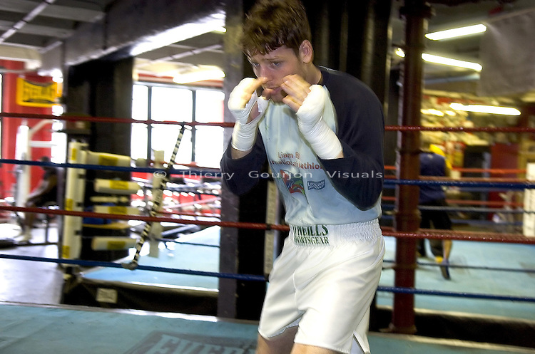 John Duddy  in the ring at Gleason's Gym in Brooklyn, NY, while training for his next fight on 05.12.05