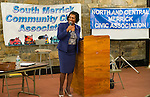 Oct. 23, 2012 - Merrick, New York, U.S. - Incumbent Judge VALERIE ALEXANDER, running for re-election to District Courth, spoke at the 4th Annual Meet the Candidate Night held by Merrick civic associations. After each candidate for Congress, New York State Senate, Assembly, and courts spoke to the audience, community members could ask additional questions in the lobby.