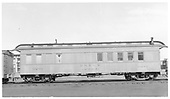 #0291 work-coach-outfit car at Alamosa.  Side view.<br /> D&amp;RGW  Alamosa, CO  Taken by Maxwell, John W. - 1/18/1946