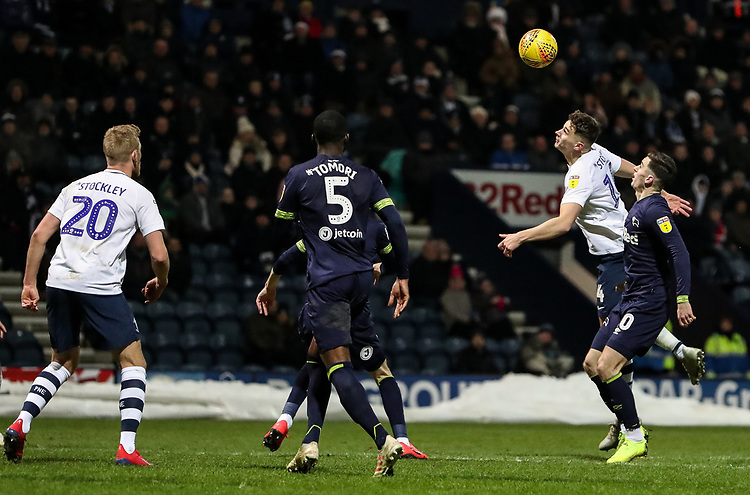 Preston North End's Jordan Storey heads at goal <br /> <br /> Photographer Andrew Kearns/CameraSport<br /> <br /> The EFL Sky Bet Championship - Preston North End v Derby County - Friday 1st February 2019 - Deepdale Stadium - Preston<br /> <br /> World Copyright © 2019 CameraSport. All rights reserved. 43 Linden Ave. Countesthorpe. Leicester. England. LE8 5PG - Tel: +44 (0) 116 277 4147 - admin@camerasport.com - www.camerasport.com