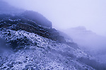 Snow-covered cliffs and fog in Salt River Canyon, Fort Apache Indian Reservation, Arizona