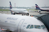 Aeroflot planes wait on the tarmac at Terminal D in Sheremetyevo International Airport in Khimki, Moscow, Moskovskii Oblast, Russia. Aeroflot is the national airline of Russia, 51% owned by the Russian government.