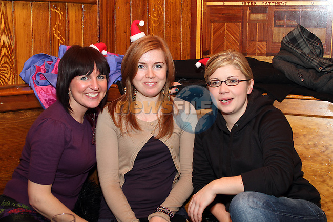 Tracey King, Lynsey Lynn and Emer Devitt on Christmas Eve in McPhails. ..(Photo credit should read Jenny Matthews www.newsfile.ie)....This Picture has been sent you under the conditions enclosed by:.Newsfile Ltd..The Studio,.Millmount Abbey,.Drogheda,.Co Meath..Ireland..Tel: +353(0)41-9871240.Fax: +353(0)41-9871260.GSM: +353(0)86-2500958.email: pictures@newsfile.ie.www.newsfile.ie.