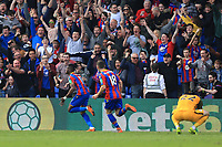 Wilfred Zaha of Crystal Palace reels away after scoring the 3rd goal for Crystal Palace during Crystal Palace vs Brighton & Hove Albion, Premier League Football at Selhurst Park on 14th April 2018