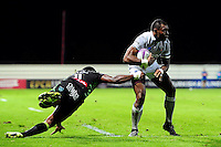 Semesa Rokoduguni of Bath Rugby looks to get past Morese Ratuvou of Pau. European Rugby Challenge Cup match, between Pau (Section Paloise) and Bath Rugby on October 15, 2016 at the Stade du Hameau in Pau, France. Photo by: Patrick Khachfe / Onside Images