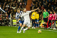 Real Madrid´s Asier Illarramendi and Deportivo de la Coruna's Alex Bergantinos during 2014-15 La Liga match between Real Madrid and Deportivo de la Coruna at Santiago Bernabeu stadium in Madrid, Spain. February 14, 2015. (ALTERPHOTOS/Luis Fernandez) /NORTEphoto.com