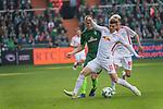 15.04.2018, Weser Stadion, Bremen, GER, 1.FBL, Werder Bremen vs RB Leibzig, im Bild<br /> <br /> <br /> Niklas Moisander (Werder Bremen #18)<br /> Kevin Kampl (RB Leipzig #44)<br /> Timo Werner (RB Leipzig #11)<br /> <br /> Foto &copy; nordphoto / Kokenge