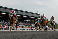 Lonesome Street trained by Mike Maker and ridden by Joel Rosario win the G2 Commonwealth Stakes at Keeneland Race Course in Lexington, Kentucky Saturday April 14, 2012. (Eric Patterson/ Eclipse Sportswire)