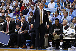 18 November 2015: Wofford head coach Mike Young. The University of North Carolina Tar Heels hosted the Wofford College Terriers at the Dean E. Smith Center in Chapel Hill, North Carolina in a 2015-16 NCAA Division I Men's Basketball game. UNC won the game 78-58.