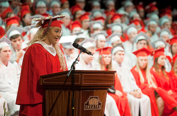 TORRINGTON, CT-061814JS07--Holly Alexson,  Senior Class Vice President, gives her address during Northwestern Regional High School's graduation ceremonies Wednesday at the Warner Theatre in Torrington. <br /> Jim Shannon Republican-American
