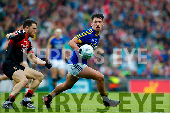 Jack Savage Kerry in action against  Chris Barrett Mayo in the All Ireland Semi Final in Croke Park on Sunday.