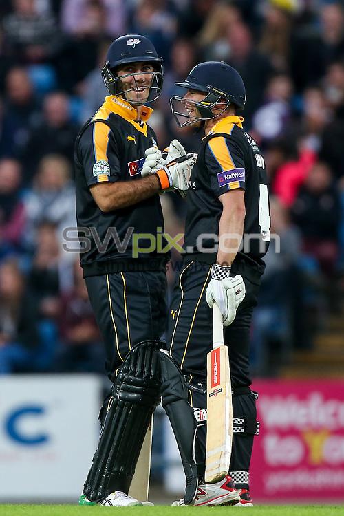 Picture by Alex Whitehead/SWpix.com - 19/06/2015 - Cricket - NatWest T20 Blast - Yorkshire Vikings v Nottinghamshire Outlaws - Headingley Cricket Ground, Leeds, England - Yorkshire's Glenn Maxwell and Andrew Hodd.